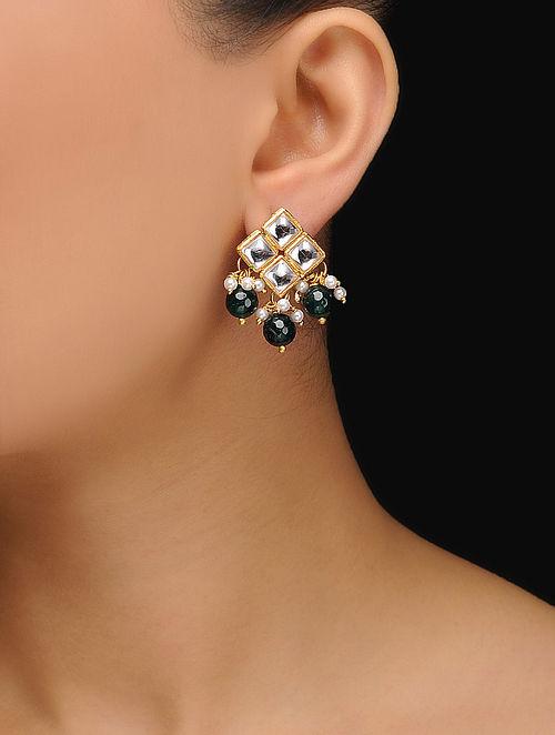 f23a815cb Buy Green Gold Tone Kundan Inspired Jade Stud Earrings Online at ...