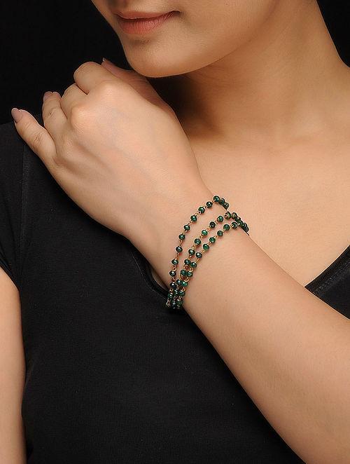 Green Gold Tone Jade Bracelet
