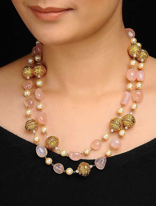 5477ef5452b40 Buy Pink Gold Tone Rose Quartz and Pearls Necklace Online at Jaypore.com