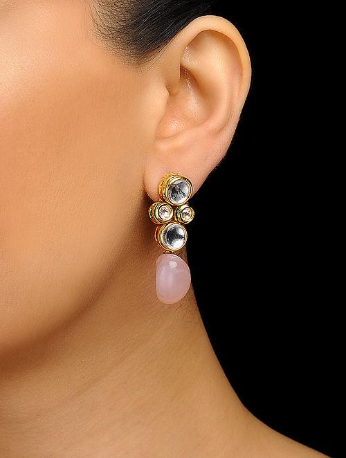 Pink Gold Tone Kundan Inspired Rose Quartz Stud Earrings