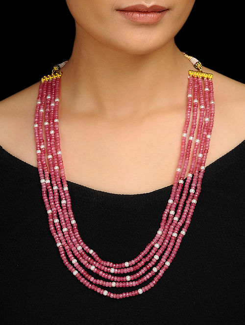 Pink Gold Tone Stone and Pearl Necklace