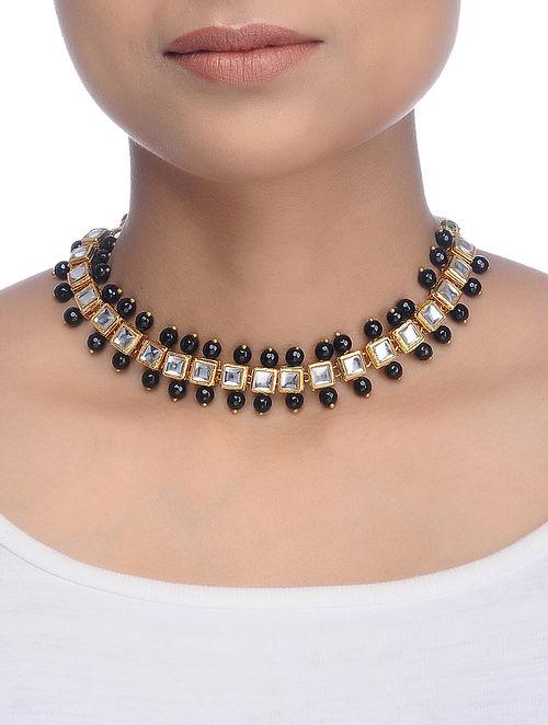 Black Gold Tone Kundan Inspired Onyx Choker Necklace
