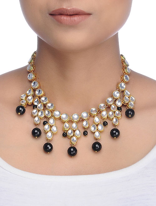 Black Gold Tone Kundan Inspired Onyx Necklace