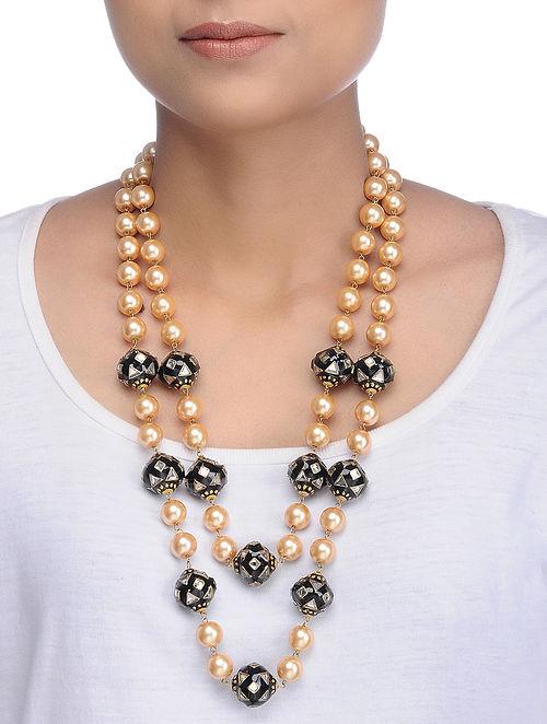 Black Gold Tone Meenakari and Pearl Necklace