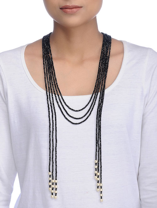 Black Gold Tone Crystal and Pearl Necklace
