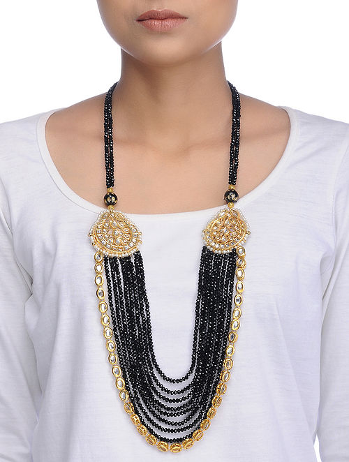 Black Gold Tone Kundan Inspired Crystal Necklace
