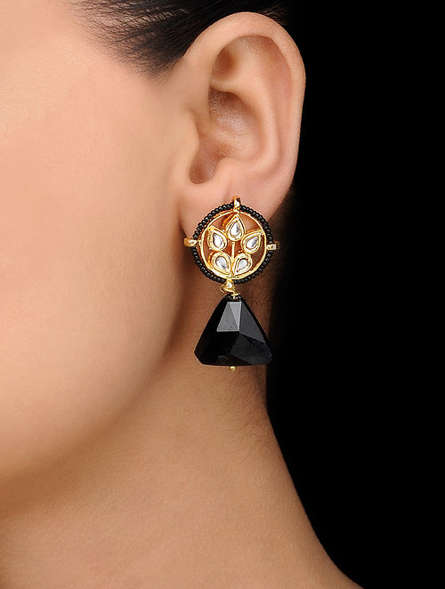 Black Gold Tone Kundan Inspired Crystal Stud Earrings
