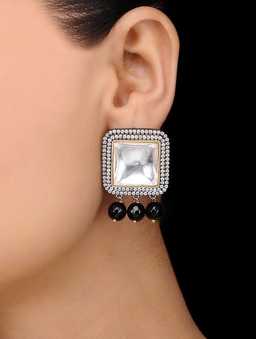 Black Gold Tone Onyx Polki Stud Earrings