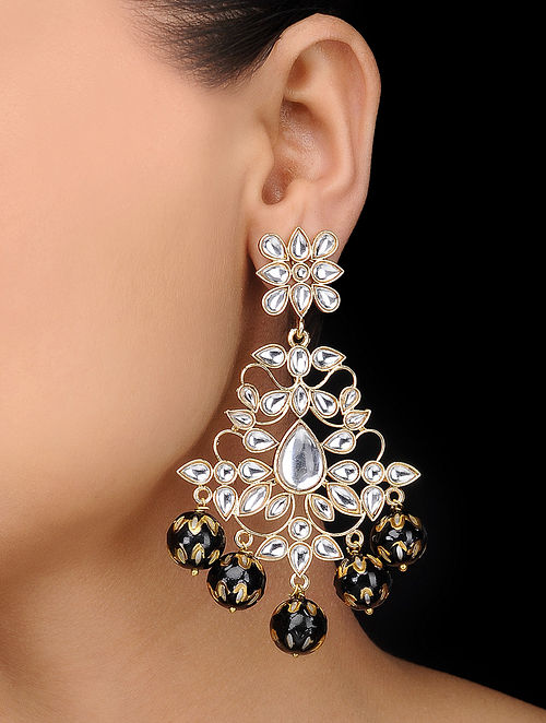 Black Gold Tone Meenakari Kundan Inspired Earrings