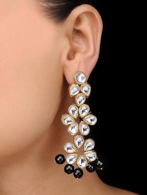 Black Gold Tone Kundan Inspired Onyx Earrings