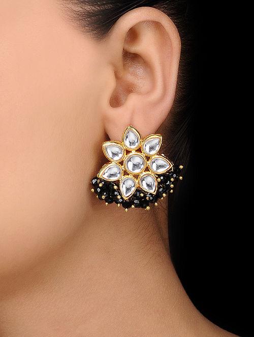 Black Gold Tone Kundan Inspired Stud Earrings