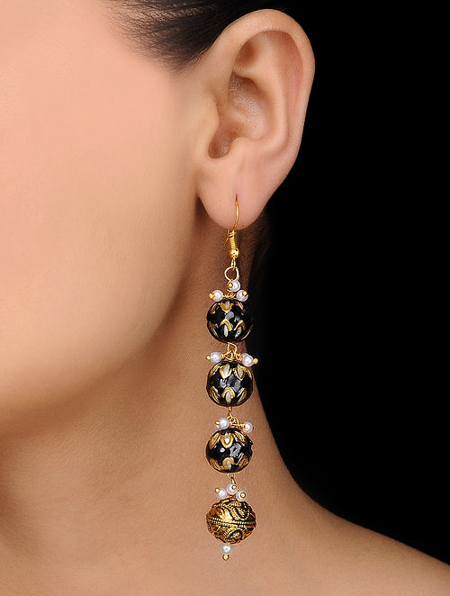 Black Gold Tone Meenakari Earrings