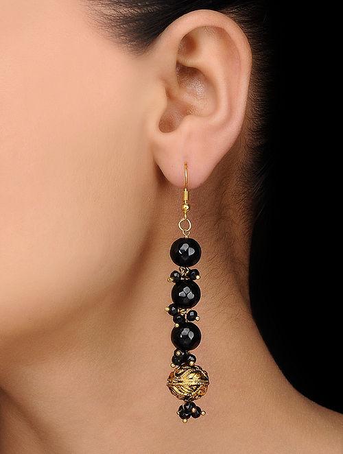 Black Gold Tone Onyx Earrings