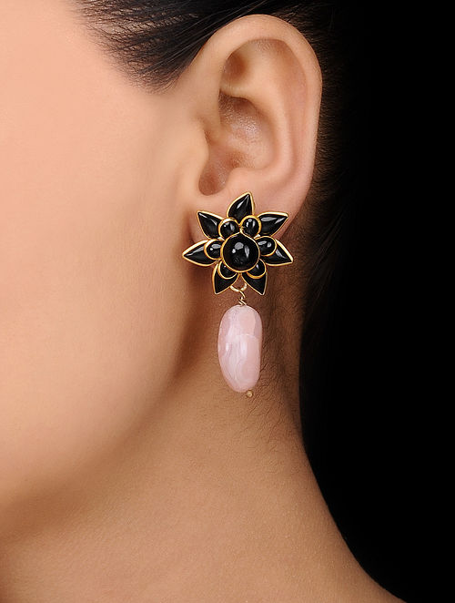 Black Gold Tone Stud Earrings