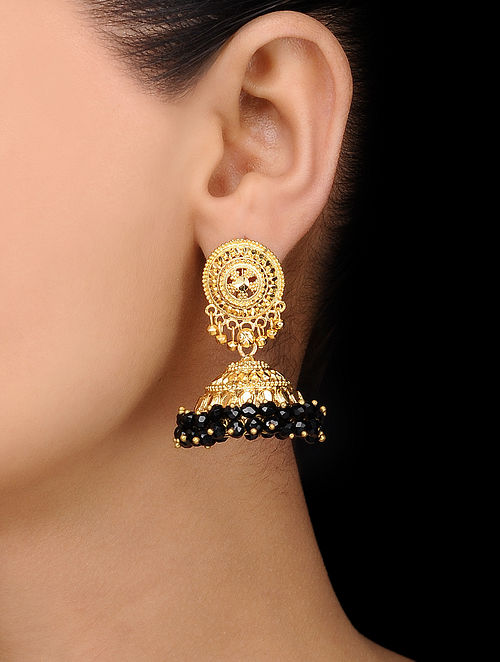 Black Gold Tone Crystal Jhumkas