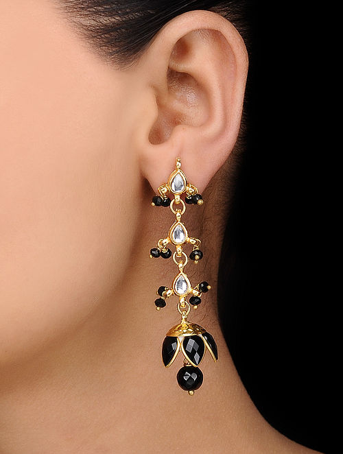 Black Gold Tone Kundan Inspired Jhumkas