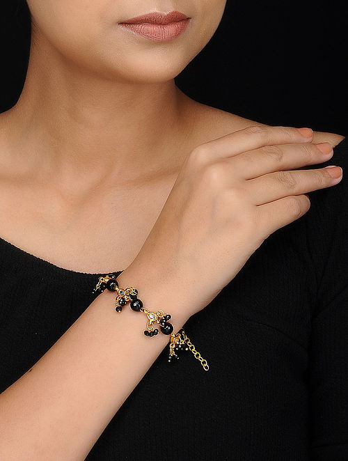 Black Gold Tone Kundan Inspired Onyx Bracelet