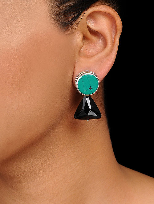 4e1bb0935 Buy Turquoise-Black Crystal Handcrafted Stud Earrings Online at ...