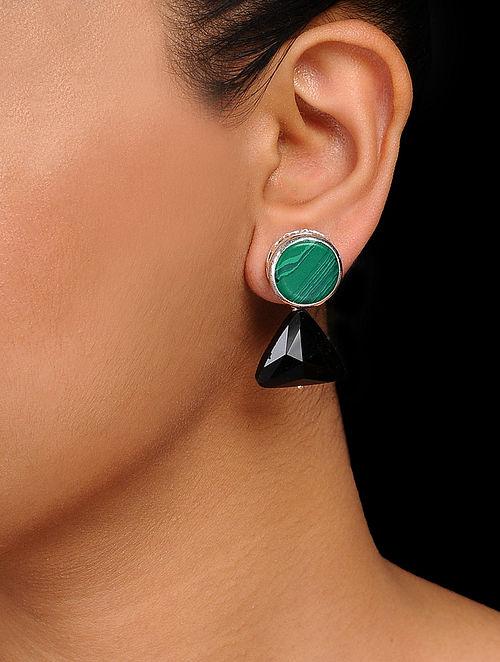 Green-Black Crystal Handcrafted Earrings