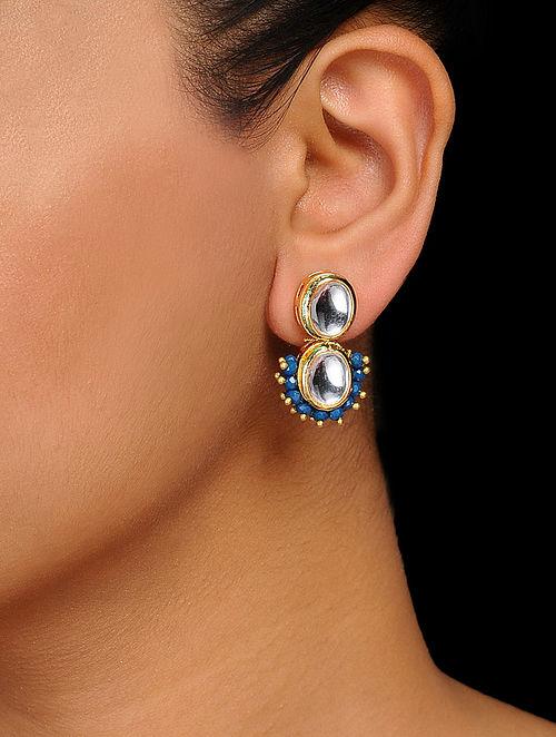 099936f70 Buy Blue Gold Tone Kundan Inspired Handcrafted Stud Earrings ...