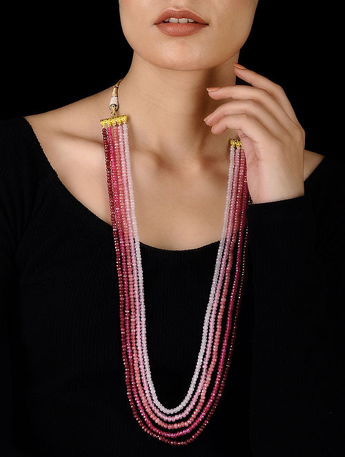 Pink-Red Handcrafted Onyx Necklace