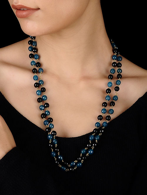 Black-Blue Handcrafted Onyx Necklace