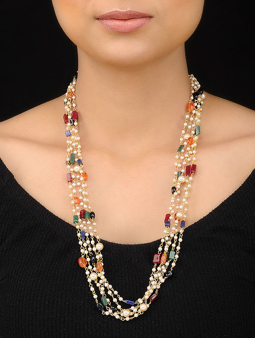 Multicolored Gold Tone Multistone Pearl Beaded Necklace