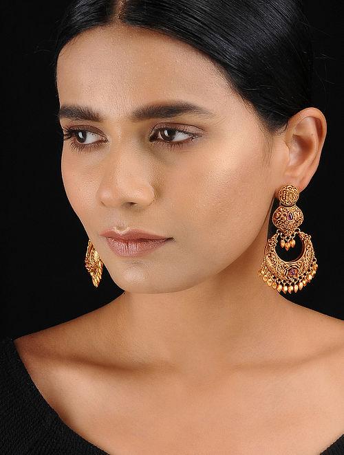 Red Gold Tone Temple Work Chandbali Earrings