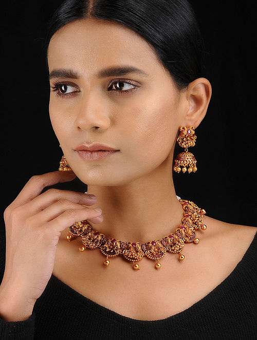 Ruby Red Gold Tone Temple Work Necklace with Earrings (Setof 2)