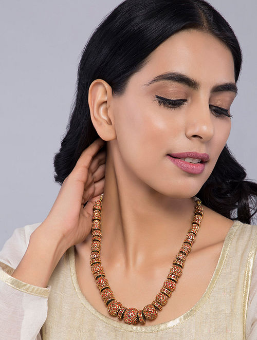 Red Gold Tone Temple Work Jadau Necklace