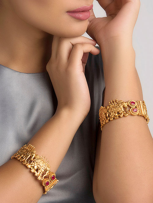 Red Gold Tone Temple Work Bangles