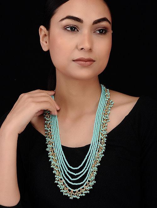 Turquoise Gold Tone Kundan Inspired Necklace