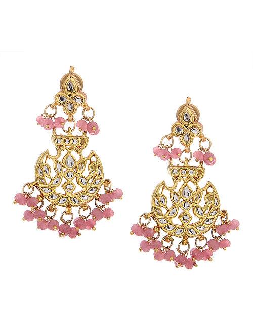 Pink Gold Tone Polki Earrings