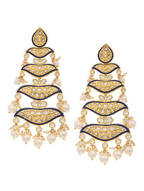 Blue Gold Tone Meenakari and Polki Earrings