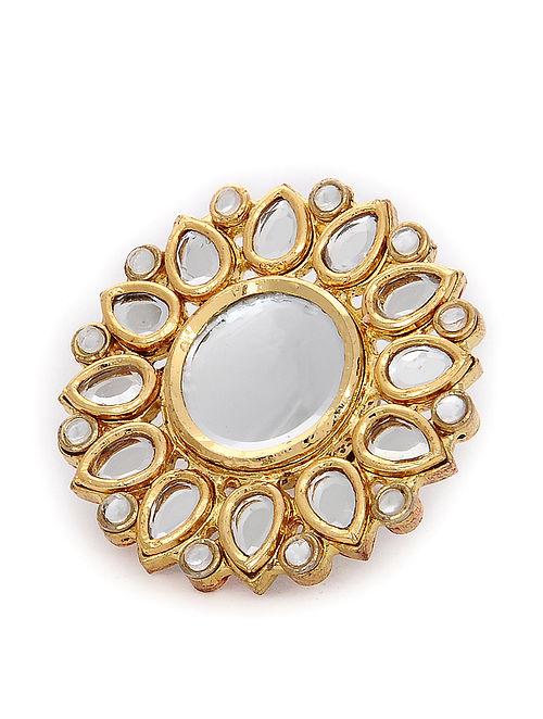Gold Tone Polki Adjustable Ring