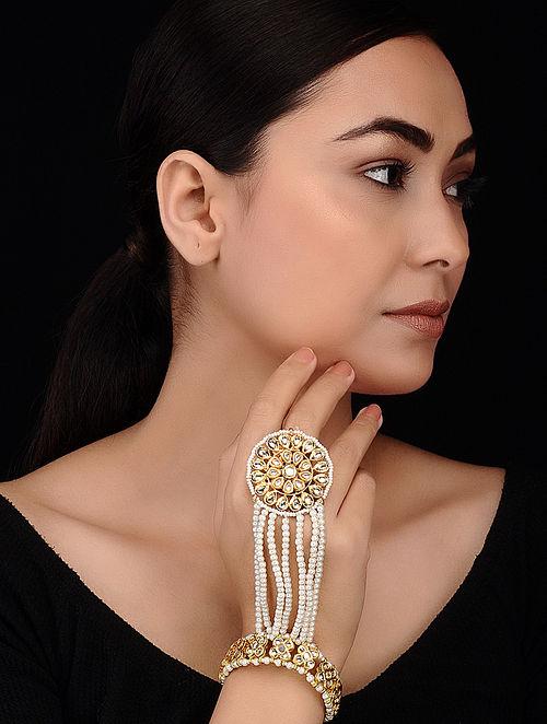 Gold Tone Kundan Inspired Pearl Beaded Haathphool