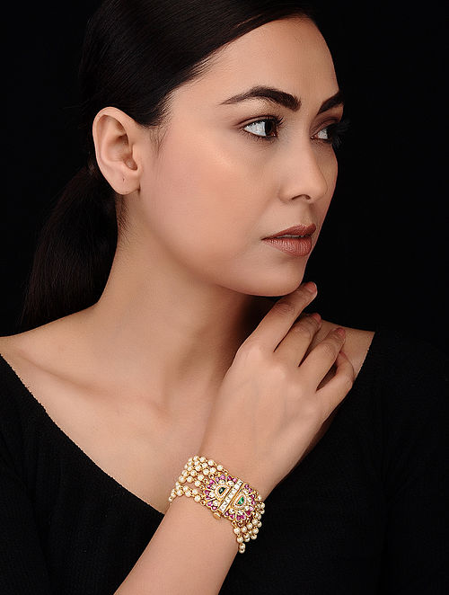 Pink-Green Gold Tone Kundan Inspired Pearl Beaded Bracelet