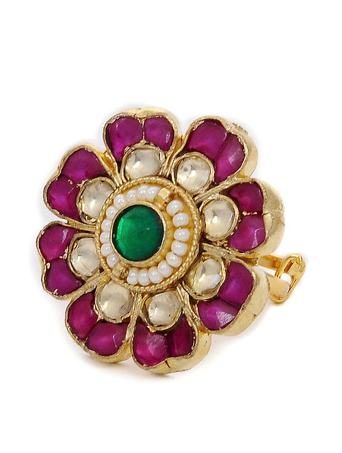 Red-Green Kundan Inspired Adjustable Ring