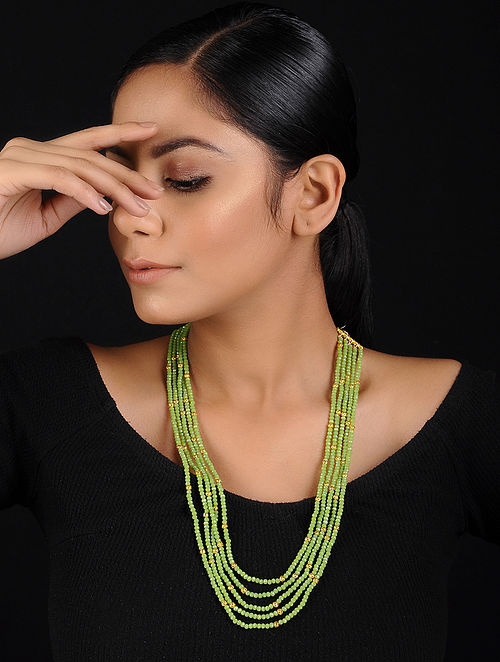 Green-Gold Beaded Handcrafted Necklace