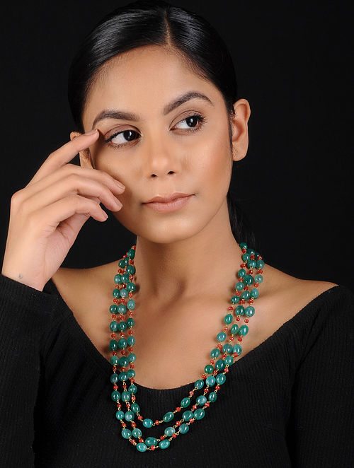Green-Red Handcrafted Beaded Necklace