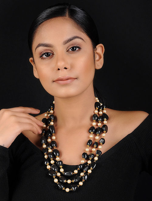 Black-White Onyx and Shell Pearl Beaded Handcrafted Necklace