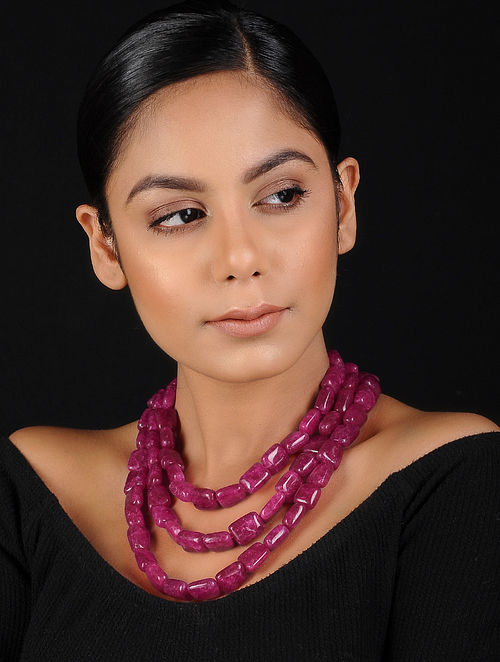 Red Onyx Beaded Handcrafted Necklace