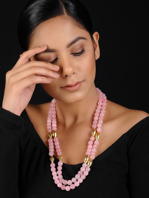 Pink-Gold Beaded Handcrafted Necklace