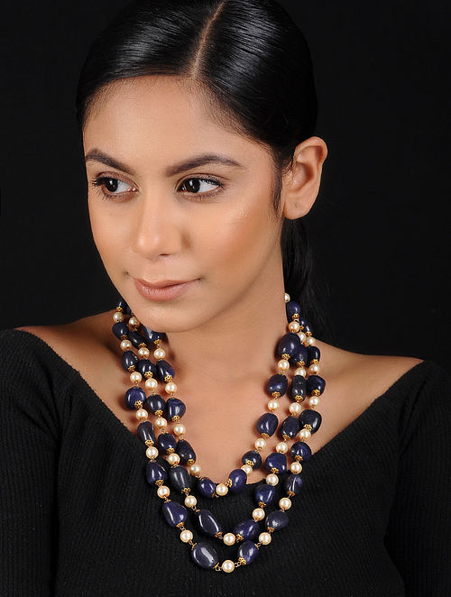 Blue-White Gold Tone Pearl Beaded Necklace