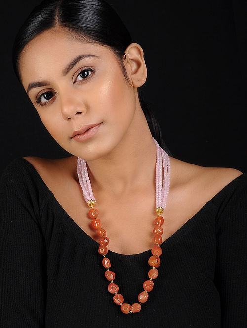 Pink-Orange Beaded Handcrafted Necklace