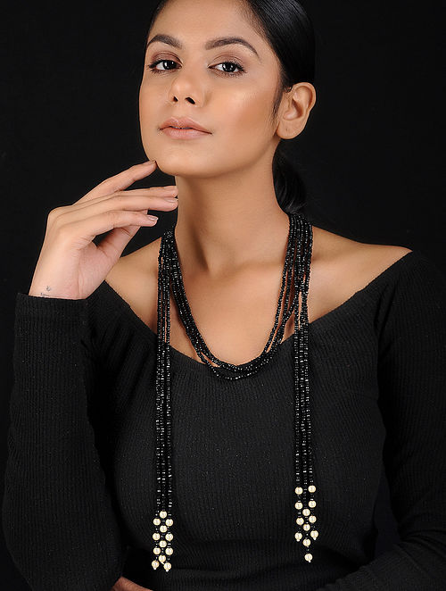 Black Crystal Beaded Handcrafted Necklace