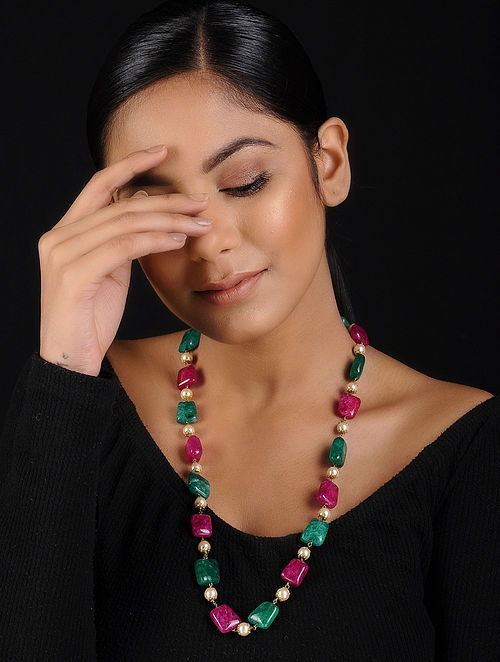 Red-Green Beaded Handcrafted Necklace
