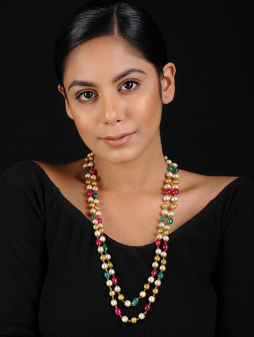 Multicoloured Gold Tone Pearl Beaded Handcrafted Necklace