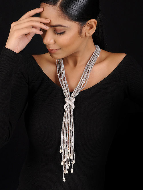 Grey Crystal Beaded Handcrafted Necklace