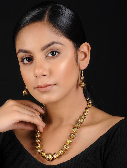 Gold Beaded Handcrafted Necklace with Earrings (Set of 2)